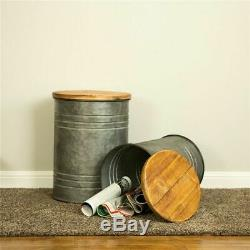 Farm Table Set 2 Rustic Storage Stools Country Industrial End Side Accent Cans