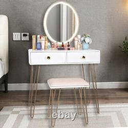 Fashion Makeup Vanity Table Set with Stool Touch LED Light Mirror Solid Metal Leg