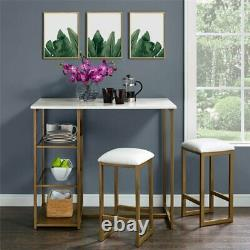Faux Marble Small Dining Set 3 Pc Metal Storage Table Stools Kitchen Brass White