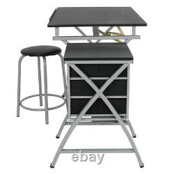 Folding Drafting Table Station Art & Craft Drawing Desk with Side Shelf & Stool