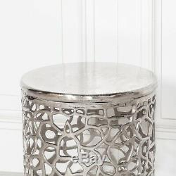 Fretwork Aluminium Hammered Stool Side Drum Table Lamp Plant Stand Bedside
