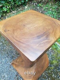 Full Twist Side Table/Stool/Solid Acacia Wood/Lamp Table/Plant Stand/Waxed 20