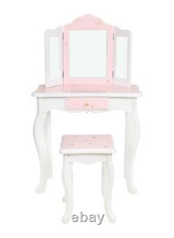 Girls Dressing Table Set Princess Glamour Dressing Table And Stool Play Set Pink