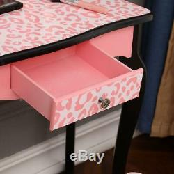 Girls Kids Pink Vanity Set Dressing Table Make Up Beauty Desk With Stool Mirror