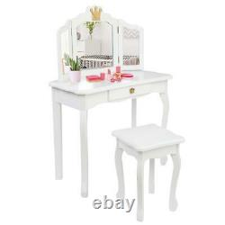 Girls Vanity Makeup Kids Dressing Table Set with Stool Drawer Mirror Jewelry White