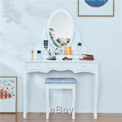 Girls Vanity Makeup Set Dressing Table Stool Rotating Oval Mirror With 7 Drawers