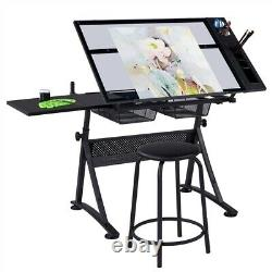Glass Adjustable Art Drafting Table Artists Drawing Desk with 2 Drawers & Stool