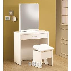 Glossy White Vanity Makeup Table Set with Hidden Mirror Storage & Lift-Top Stool