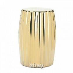 Gold Ceramic Stool Side End Bedside Table Night Stand Plant Display Shelf Decor