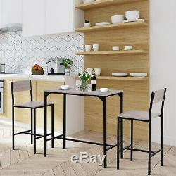 HOMCOM 3-piece Counter Table Set High Back Stool Industrial Dining Kitchen