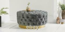 H&S Large Chesterfield Footstool Ottoman Coffee Table Bench Stool Plush Velvet