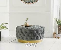 H&S Round Chesterfield Deep Buttoned Tufted Coffee Table Ottoman Stool
