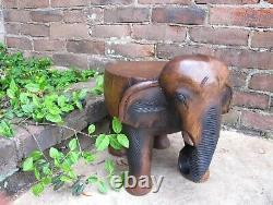 Hand Carved Wooden Thai Elephant Statue Small Table Stool Plant Pot Stand 13