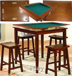 Harvard 5 Piece Family Game Table Square High Pub Set Bar Game Room with Stool