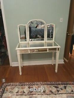 Hayworth Antique White Vanity Desk and Stool from Pier 1
