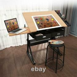 Height Adjustable Drafting Table Tiltable Tabletop Drawing Table Desk with Stool