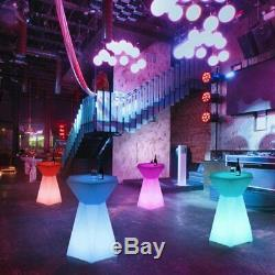 Hexagonal LED Light Up Accent Side Table Pub Night Club Stools Bar Lounge Table