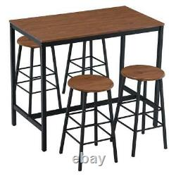 High Grade 5 PCS Dining Table Set Kitchen 4 Round Bar Stools Home Room Furniture
