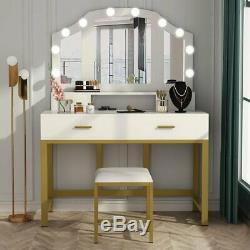 Home Dressing Table with 10 Lights 3 Mirrors, 4 Drawers & Padded Stool Vanity Set