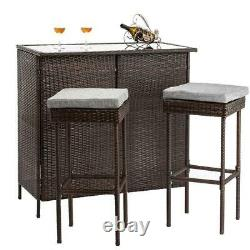 In/Outdoor 3 Pcs Patio Rattan Wicker Bar Table Stools Dining Set With Cushioned