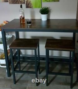 Industrial Bar Table and Stools Vintage Tall Breakfast Pub Rustic Dining Kitchen