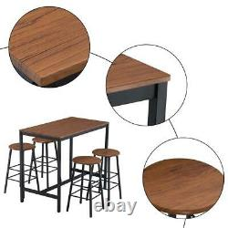 Industrial Style 5 PCS Bar Table and Chair Set with 4 Round Bar Stools Furniture