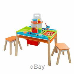 KidKraft 10091 Ultimate Creation Station Kids Activity Art Table with Two Stools