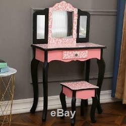 Kids Girls Vanity Table Makeup Set for With Drawers Dressing Desk with Mirror Stool