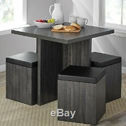 Kitchen 5 P Dining Set Dinette Table Storage Ottoman Stool Padded Reclaimed Grey