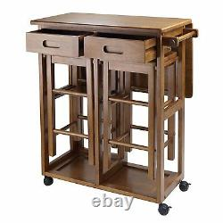 Kitchen Island Table 2 Chairs Stools Space Saver Saving Utility Cart Storage New