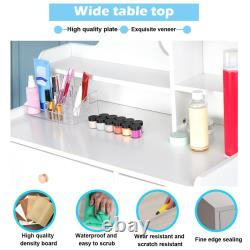 LED Vanity Set With Lighted Mirror Cushioned Stool Dressing Table Makeup Desk