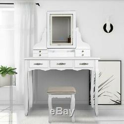 LED Vanity Table set with Lighted Touch Screen Mirror and Cushioned Stool