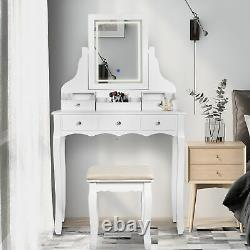 LED Vanity Table with3 Lighting Modes and Drawers Dressing Set withCushioned Stool