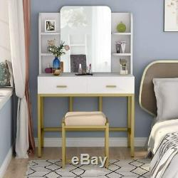 Large Makeup Vanity with with Mirror and Cushioned Stool, Dressing Table -US