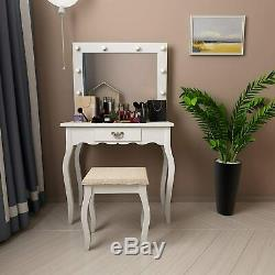 Led Lighted Vanity Table Makeup Dressing Table with Drawer & Mirror & Stool White