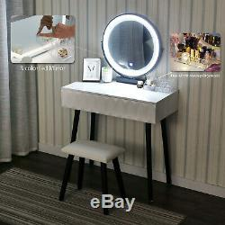 Led Mirror Makeup Vanity Dressing Table Wood Desk Set With Stool Jewelry Drawer US