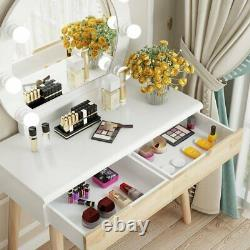 Light Up Dressing Table Mirror Make Up Vanity Desk and Stool Set with 2 Drawers