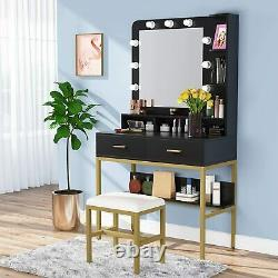 Lighted Vanity Table Home Makeup Dressing Desk Stool Set with Mirror and Drawers