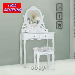 Makeup 4 drawers Vanity Set Dressing table withHeart-Shaped Mirror, Stool White