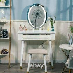 Makeup Desk Vanity Dressing Table Set Touch LED Light Mirror Stool with Drawers