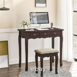 Makeup Dressing Table Stool Vanity Set With Tri-Folding Mirror 5 Drawers Desk