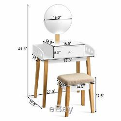 Makeup Dressing Table Stool Wooden Vanity Set with Round Mirror Drawer