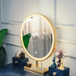 Makeup Dressing Table Vanity Set With Mirror Touch Screen 3 lights Stool Bedroom