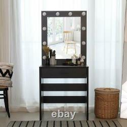 Makeup Dressing Table Vanity Set with 10 LED Lights with Stool and Mirror Black