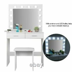 Makeup Dressing Table Vanity Set with 12 LED Lights with Stool and Mirror White