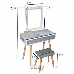 Makeup Dressing Table Vanity Stool Set 2 Drawers withRectangle LED Lighted Mirror