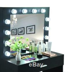 Makeup Dressing Table With Stool Mirror Bulb Vanity Set With Lighted Mirror