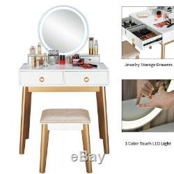 Makeup Dressing Vanity Table Stool Set Jewelry Round Mirror Desk with 4 Drawers