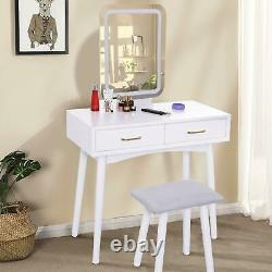 Makeup Table LED Mirror 2 Drawers With Padded Stool Set Dressing Desk Vanity
