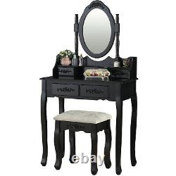 Makeup Table Set Detachable Top Part Adjustable Mirror Writing Desk with Stool